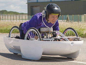 Handcycle RAF St Mawgan Track testing with Sarah Piercy